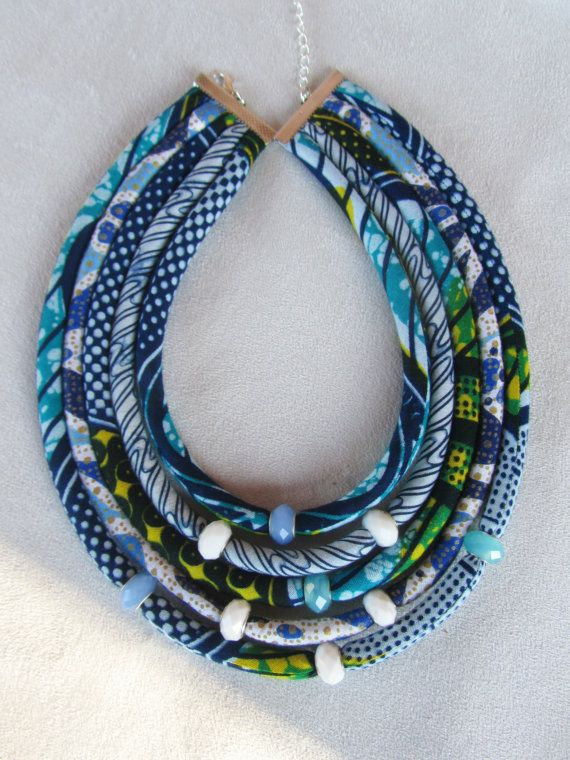 NEW Blue and white necklace/ Bib necklace/ Ghanaian by nad205