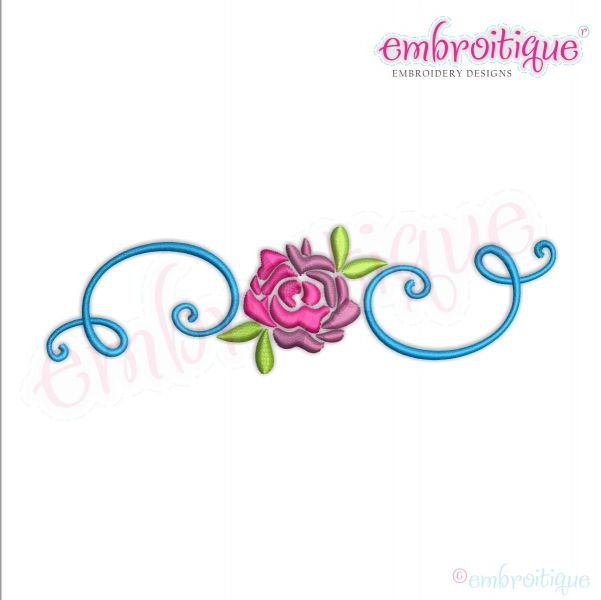 Spring Flower with Curly Flourish Border Frame - Machine Embroidery Design - Embroitique