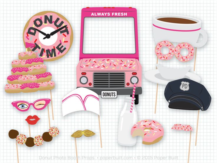 Donut Shoppe Party, Donut Photo Booth Props, Donut Party, Donut Photobooth Props, Birthday, Sprinkles, Foto Booth, Pink, Diner, Sweet Shoppe by PaperBuiltShop on Etsy https://www.etsy.com/listing/225121131/donut-shoppe-party-donut-photo-booth