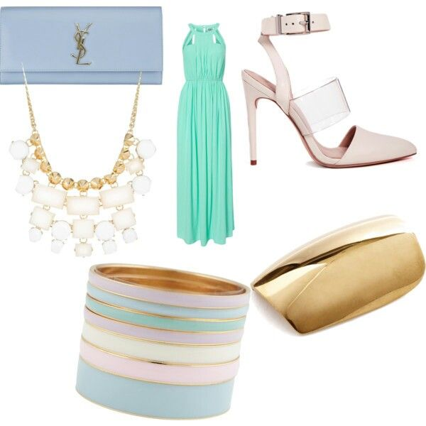 Powder colors and gold: YSL clutch  white necklace gold nails maxi mint dress