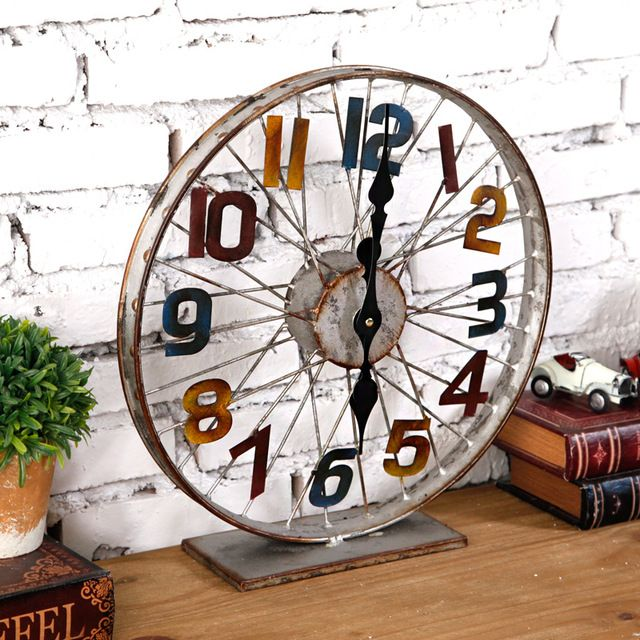 1 piece loft style creative industry hub clock/ bar decorated bike wheel clocks/ old metal wrought iron bicycle wheel clocks