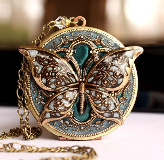 Locket, Wedding Necklace, Bridal Necklace, Something Blue Necklace, Butterfly Locket, Picture Locket, Vintage Locket