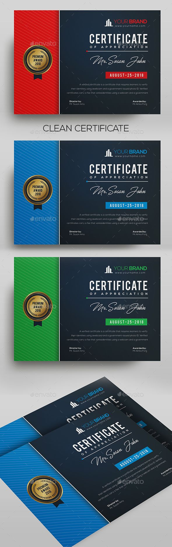 Certificate Certificate Template  Fully Clean Certificate A4 Paper Size With Bleeds Quick and easy to customize templates Any Size Changes Fully Group Layer Free Fonts Use Fully Vector