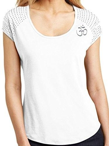 Womens Hindu Om Symbol Bling Shirt - Shoulder Print - White / Ladies Extra Small, Women's