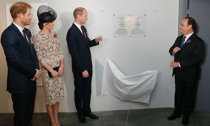 Prince William and France's President Francois Hollande unveiled a commemorative plaque inside the World War I Thiepval monument.