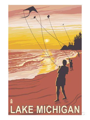 Lake Michigan - Sunset Kite Flyers Print by Lantern Press at AllPosters.com