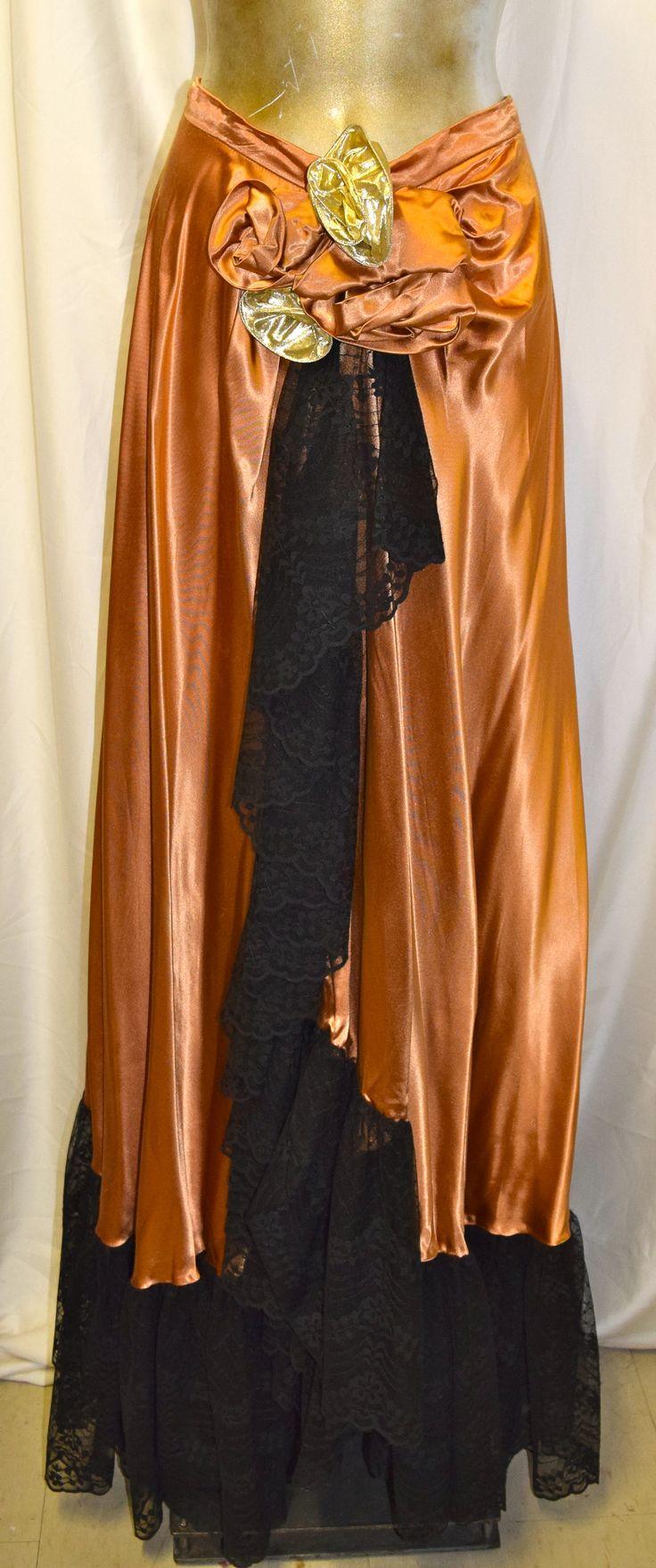 Vintage Vernon Gold & Black Lace Long Formal Skirt