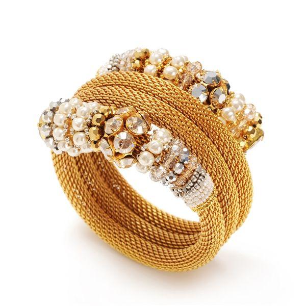 Miriam Haskell M03953-B01 Gold Pearl Mesh Coli Bracelet