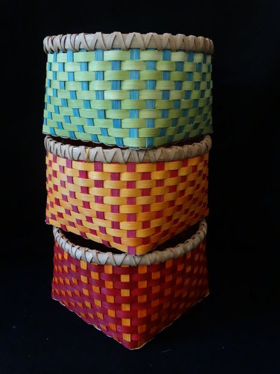 Hand Woven Basket in Cherry Red and Sunshine by ColorBasketStudio