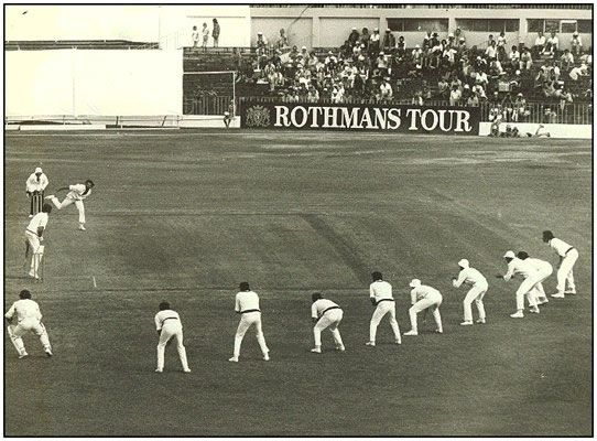 Australia Vs N Zealand .... Lillee used all 9 players in the slips.