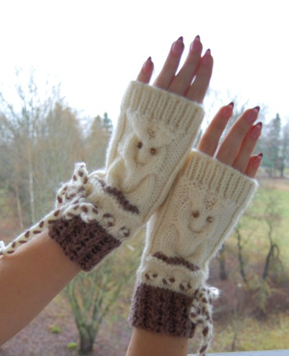 PDF PATTERN owl mittens fingerless gloves knitting instruction diyhow to knit owl gloves cable knit owl pattern