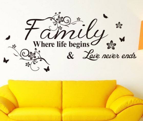 Wall Decal  FAMILY where life begins  - Vintage - Retro - Removable Wall Decal