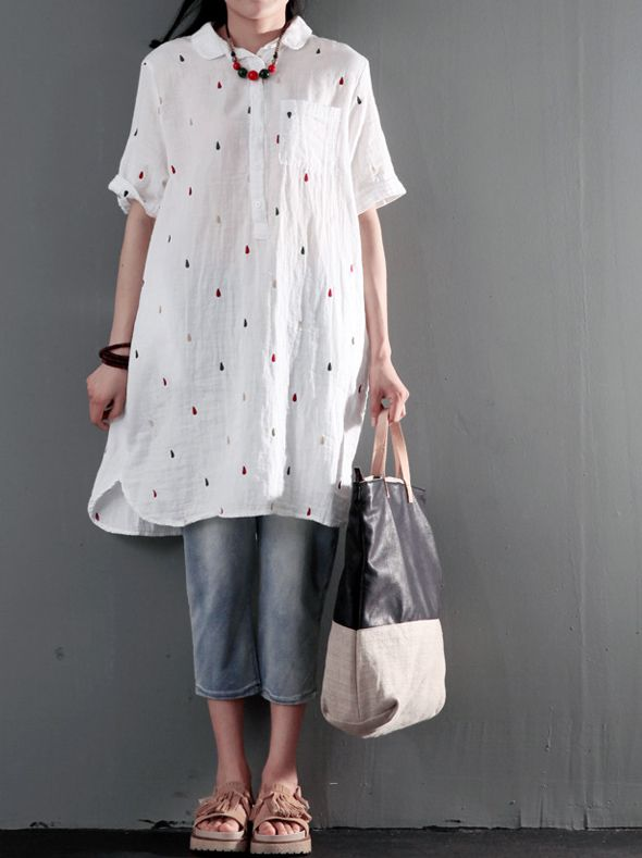 White cotton shift dress for summer plus size sundress fine cotton dotted embroidery