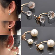 Fashion Women's Studs Earrings Gold Plated Double White Freshwater Pearl Dangles