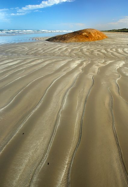 Southern Ocean Beach in Coorong National Park, South Australia. The colour of the dunes changes in the morning and evening light creating stunning sunrises and sunsets.