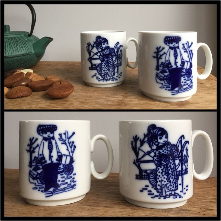 This cute couples mugs make a perfect holiday gift for him or her! Original mid century west german porcelain. Shipping to the States within 2 weeks, so order right away! - by ChrisVintageStyle
