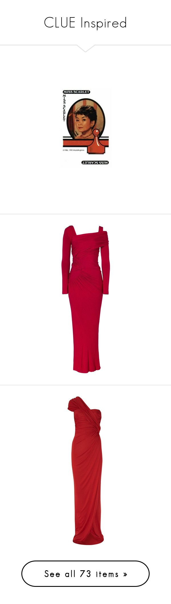 """""""CLUE Inspired"""" by nataliesharin ❤ liked on Polyvore featuring dresses, gowns, red, maxi dresses, red long sleeve gown, long sleeve maxi gown, pink gown, pink long sleeve dress, vestidos and long dresses"""