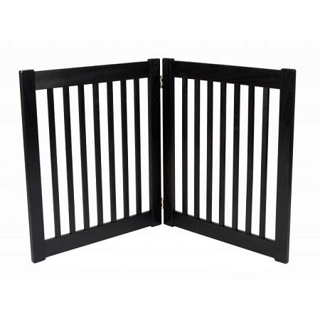 """Two Panel EZ Pet Gate - Small/Black. Features:   27"""" Tall   Adjusts up to 36"""" Wide   Bar Spacing 1.75""""   All Wood Construction   Available in Black, Artisan Bronze and Mahogany    Built to span;small open areas.The Two Panel EZ Pet Gates modular gates bring all new functionality to pet gates. With this collapsible pet gate;you be able to;block off any room in the house in a snap! Double action hinges allow for multiple set-ups so you can even block;those tough hallway..."""