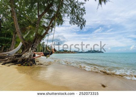 Beautiful Caucasian Woman On Wooden Swing Tied To A Tree With Ropes, Enjoying Herself On A Tropical Beach In Thailand, Koh Phangan Stock Photo 252073315 : Shutterstock #thailand #stockphoto #thailandphoto #stockimage #thailandstock #island