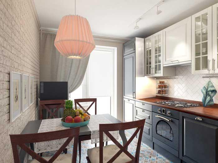 Маленькая кухня в трехкомнатной квартире с мебелью из IKEA