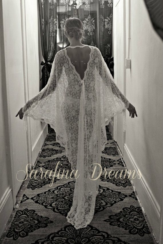 Exclusive Embroidered French Lace Bridal Robe Nightgown Wedding Sleepwear Bridal Lingerie Bridal Robe Paris Chic Runway Collection
