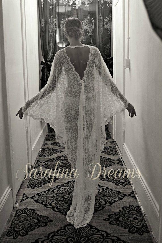 Exklusive gestickten französischen Lace Braut Robe Nachthemd Hochzeit Nachtwäsche Bridal Lingerie Braut Robe Paris schicke Runway Collection