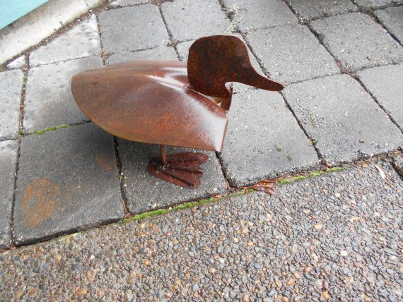 Rusty Metal Garden Art Duck Recycled Products