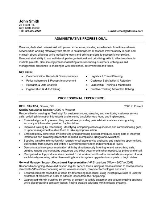 26 best Best Administration Resume Templates \ Samples images on - resume samples customer service jobs