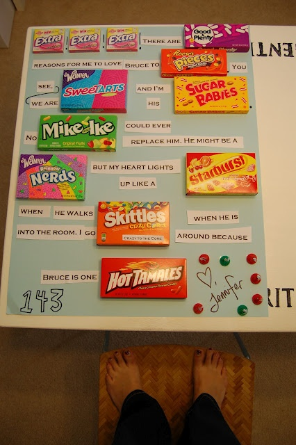 So cute! Doing this for Valentines day. Making the background red and putting hearts all over it with the words and candy in front!