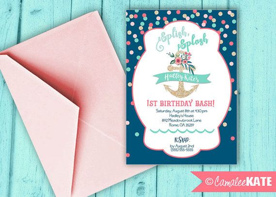 Anchor Birthday Pool Party Inivtation - printable digital file - diy - personalized - also available with a photo - nautical party ideas - flowers - navy and coral - aqua and pink - gold glitter - 1st birthday party themes - sweet 16 - confetti dots - beach bachelorette party
