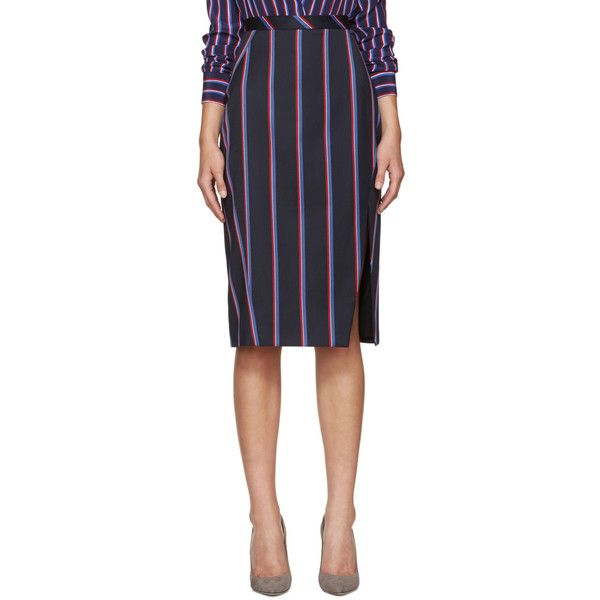 Altuzarra Navy Striped Monroe Skirt (990 RON) ❤ liked on Polyvore featuring skirts, navy, navy blue pencil skirts, blue pencil skirt, blue skirt, zipper skirt and stripe skirt