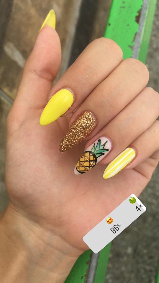 Yellow long pineapple nails with glitter for summer