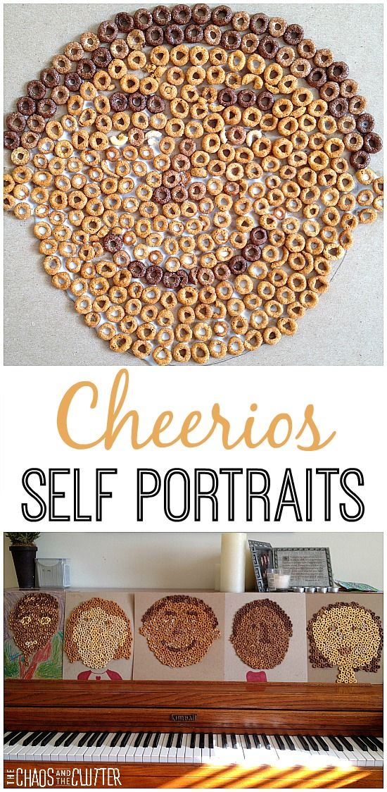 cheerios self portraits art for kidscrafts - Pictures Of Crafts For Kids