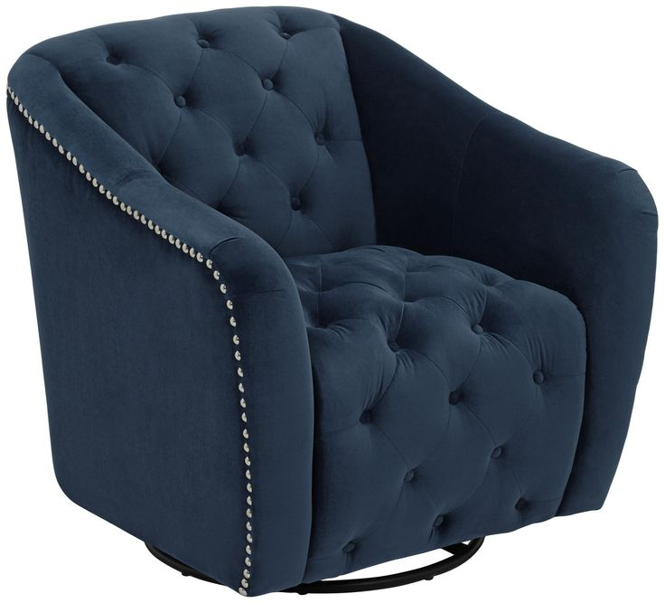 Ridley Navy Blue Swivel Accent Chair