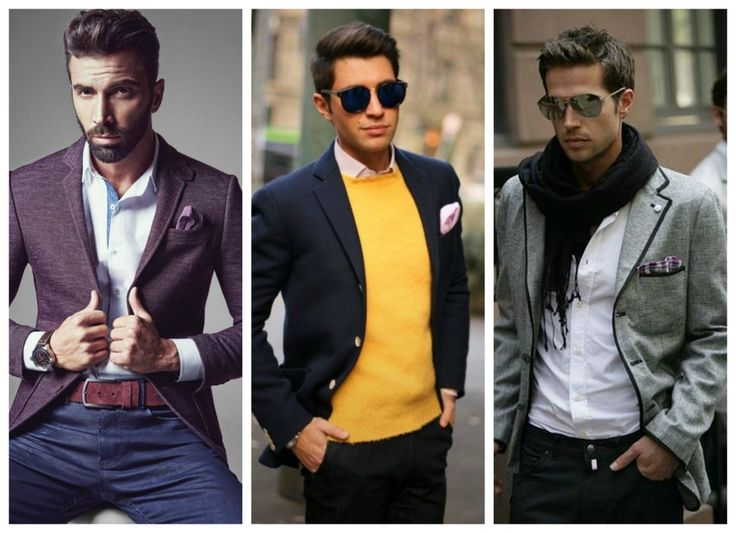 Fall, winter outfits for men - blazer, scarf, yellow jumper.