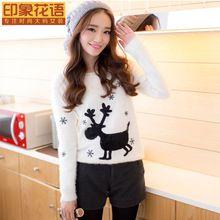 Расслабленным свободного покроя оленей свитер перо мягкий животное принт дамы блузка зима модели взрыва(China (Mainland))
