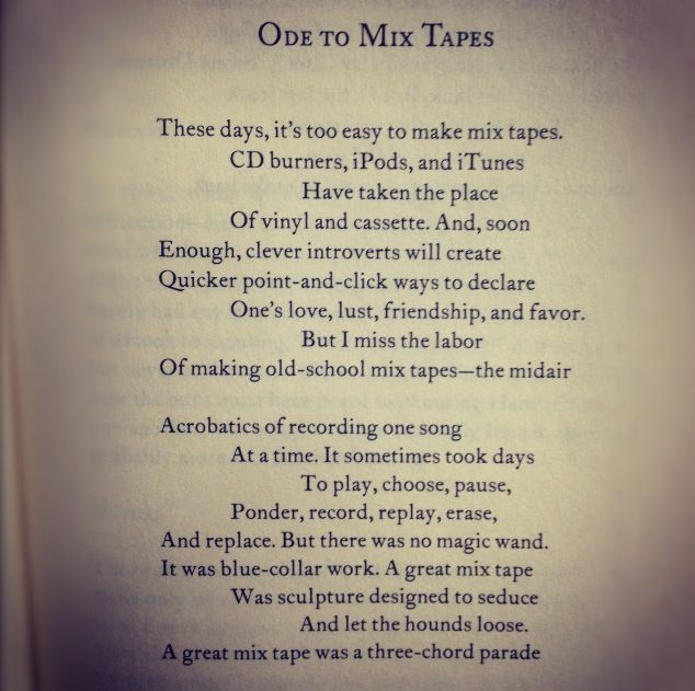 Mixed Tapes by Sherman Alexie reminds me of my husband's and my courtship. He would woe me with a seductive selection of songs.