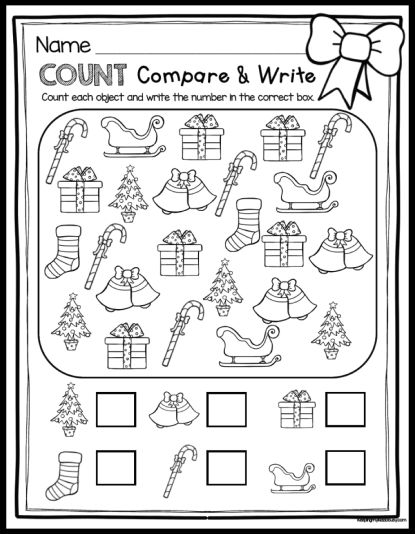 FREE Christmas count and compare - perfect for 1:1 correspondence and practice numbers 1-10 in kindergarten and preschool