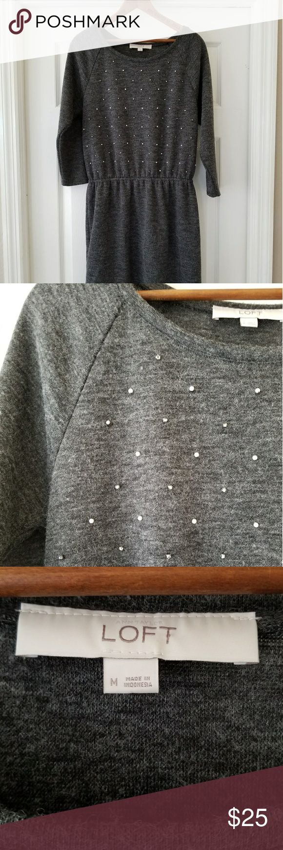 Loft bejeweled sweatshirt dress Supersoft dark heathered gray Idress with elastc waist, hits just above the knee, with pearl and rhinstone details on the bodice. Perfect for the holidays.EUC. LOFT Dresses