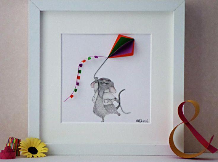 Baby Mouse Flying Kite, Baby Mouse Nursery Art, Nursery Wall Art, Baby Shower Gift Idea, Nursery Decor Ideas, 3D Nursery Art, Kids Playroom by QuillArtuk on Etsy