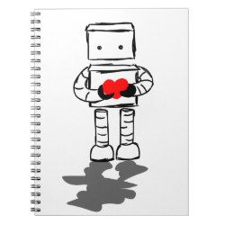Robot with Heart Spiral Note Books
