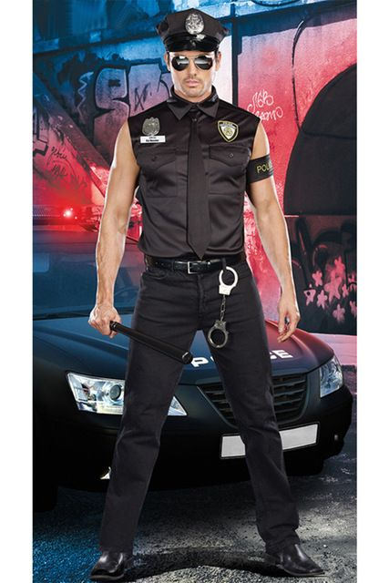 New Movie Stage Black Adult Police Costume Men Cosplay USA SWAT Costumes Male Police Uniform Halloween Cop Outfit