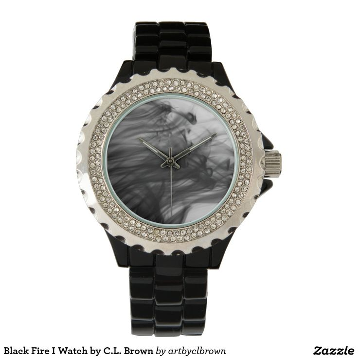 Black Fire I Rhinestone and Black Enamel Watch Designed by Artist C.L. Brown. A variety of watch styles are available with this design on Zazzle.