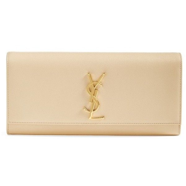Saint Laurent 'Monogram' Leather Clutch (1,347,680 KRW) ❤ liked on Polyvore featuring bags, handbags, clutches, laukut, ysl, genuine leather handbags, leather handbags, monogrammed clutches, beige leather purse and beige handbags