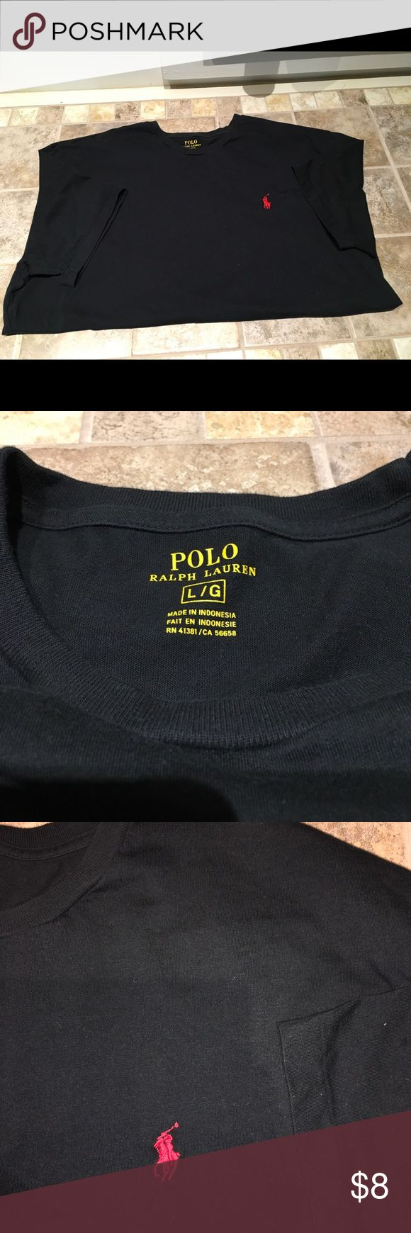 Men's Polo T-shirt Men's short sleeve polo T-shirt Black with red polo logo Crewneck Large Good condition All offers are considered Polo by Ralph Lauren Shirts