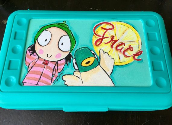Plastic pencil box hand painted and personalized...I do custom orders so please feel free to contact me with your own theme. I would love to work with you