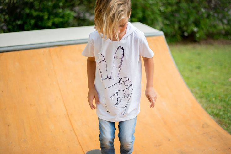 Bandit Kids Peace Love Hooded Tee available from A Little Bit of Cheek