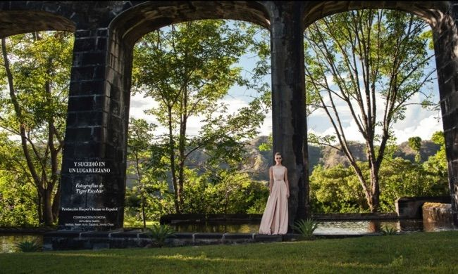 A Bride in white and cream looks for Harper's Bazaar Latin America captured by Tigre Escobar.