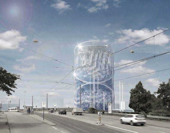 Wärmespeicher, Heidelberg - Büro LAVA   Gebäudehülle aus rund 20.000 Stahlplättchen, die sich dank einer flexiblen Aufhängung im Wind bis zu 90 Grad verdrehen können.