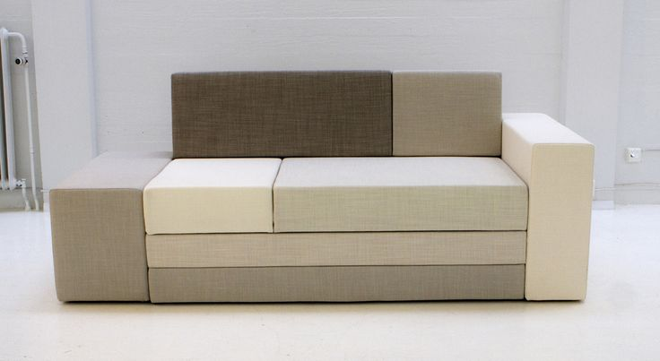 Hanasaari 3-seater sofabed by Ateljé Sotamaa. Shades of white. Stage 1 / sofa.